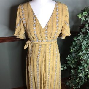 NWOT Wishlist Boutique S Primrose Yellow Wrap Maxi